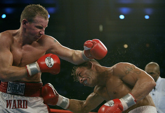 ATLANTIC CITY, NJ - JUNE 7:  Arturo Gatti (R) and Micky Ward trade punches during their Junior Welterweight bout at Boardwalk Hall on June 7, 2003 in Atlantic City, New Jersey. Gatti won a unanimous decision. (Photo by Al Bello/Getty  Images)