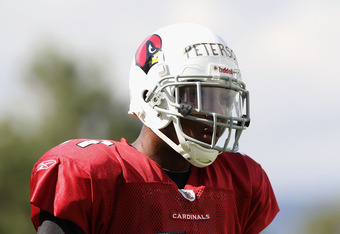 FLAGSTAFF, AZ - AUGUST 04:  Cornerback Patrick Peterson #21 of the Arizona Cardinals practices during the team training camp at Northern Arizona University on August 4, 2011 in Flagstaff, Arizona.  (Photo by Christian Petersen/Getty Images)