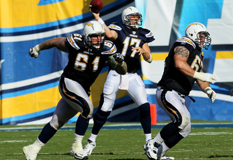 SAN DIEGO - OCTOBER 03:  Quarterback Philip Rivers of the San Diego Chargers throws a pass as center Nick Hardwick #61 and tackle Brandyn Dombrowski #62 block against the Arizona Cardinals at Qualcomm Stadium on October 3, 2010 in San Diego, California.