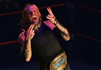 Jeff Hardy as WWE Intercontinetnal Champion (Photo by John O'Neill)