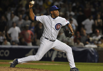 CHICAGO, IL - JULY 18: Carlos Marmol #49 of the Chicago Cubs pitches in the ninth inning against  the Philadelphia Phillies on July 18, 2011 at Wrigley Field in Chicago, Illinois. The Cubs defeated the Phillies 6-1.  (Photo by David Banks/Getty Images)