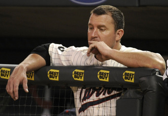 MINNEAPOLIS, MN - AUGUST 6: Jim Thome #25 of the Minnesota Twins looks on durning the ninth inning against the Cleveland Indians on August 6, 2011 at Target Field in Minneapolis, Minnesota. The White Sox defeated the Twins 6-1. (Photo by Hannah Foslien/Ge