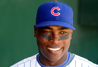 MESA, AZ - MARCH 09:  Alfonso Soriano #12 of the Chicago Cubs smiles in the dug out before the spring training baseball game against the Kansas City Royals at HoHoKam Stadium on March 9, 2011 in Mesa, Arizona.  (Photo by Kevork Djansezian/Getty Images)