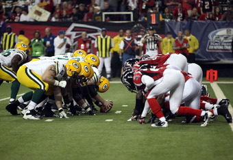 ATLANTA, GA - JANUARY 15:  The Green Bay Packers special teams lines up for a extra point attempt against the Atlanta Falcons during their 2011 NFC divisional playoff game at Georgia Dome on January 15, 2011 in Atlanta, Georgia.  (Photo by Streeter Lecka/