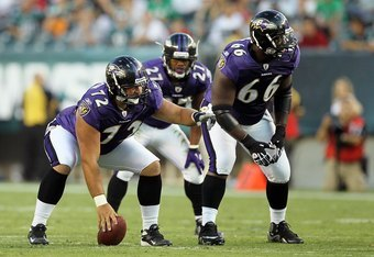 PHILADELPHIA, PA - AUGUST 11:  Bryan Mattison #72 and Ben Grubbs #66 of the Baltimore Ravens in action against the Philadelphia Eagles during their pre season game on August 11, 2011 at Lincoln Financial Field in Philadelphia, Pennsylvania.  (Photo by Jim