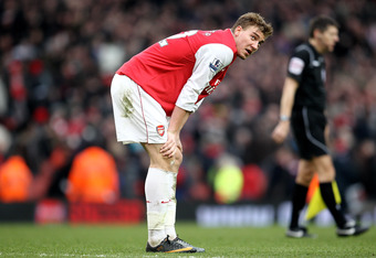 Bendtner is tired of sitting on the bench at Arsenal, but looks tired on the pitch sometimes as well.