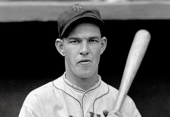 Mel Ott of the New York Giants, the all time leader in home runs through the age of 21, with 84 dongs.