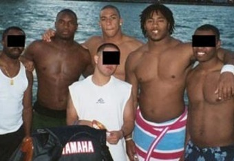 This picture, taken by Nevin Shapiro shows D.J. Williams and fellow University of Miami players on Shapiro's $1.6 million yacht.