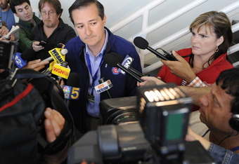 CHICAGO, IL - JUNE 15: Tom Ricketts, Chairman of the Chicago Cubs, talks with the media about the Cubs before the Milwaukee Brewers game on June 15, 2011 at Wrigley Field in Chicago, Illinois.  (Photo by David Banks/Getty Images)