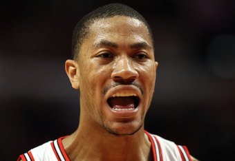CHICAGO, IL - MAY 26:  Derrick Rose #1 of the Chicago Bulls reacts against the Miami Heat in Game Five of the Eastern Conference Finals during the 2011 NBA Playoffs on May 26, 2011 at the United Center in Chicago, Illinois. NOTE TO USER: User expressly acknowledges and agrees that, by downloading and or using this photograph, User is consenting to the terms and conditions of the Getty Images License Agreement.  (Photo by Jonathan Daniel/Getty Images)