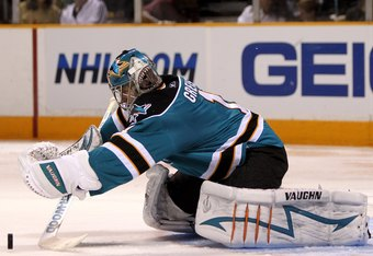 SAN JOSE, CA - MARCH 28:  Thomas Greiss would have to play at least to Antero Niittymaki's level for th San Jose Sharks to not lose any production out of the goaltender position from 2011-12 to 2012-13.  (Photo by Ezra Shaw/Getty Images)