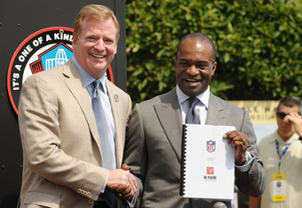 CANTON, OH - AUGUST 05: Commissioner of the National Football League, Roger Goodell and Director of the National Football League Players' Association, DeMaurice Smith pose with the new Collective Bargaining Agreement on the front steps of the Pro Football Hall of Fame on August 5, 2011 in Canton, Ohio.  (Photo by Michael Loccisano/Getty Images for Bud Lite)