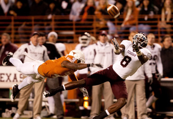 This Texas corner was outstanding and practically defended this pass.