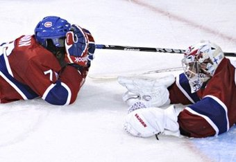 P.K. Subban having a chat with Carey Price