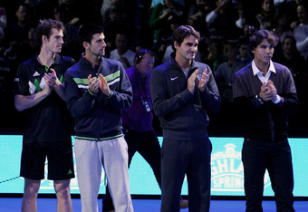 The Favorites: (L-R) Andy Murray of Great Britain, Novak Djokovic of Serbia, Roger Federer of Switzerland and Rafael Nadal of Spain