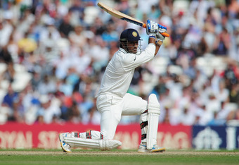 LONDON, ENGLAND - AUGUST 22:  Mahendra Singh Dhoni of India hits out during day five of the 4th npower Test Match between England and India at The Kia Oval on August 22, 2011 in London, England.  (Photo by Shaun Botterill/Getty Images)