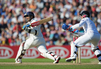 LONDON, ENGLAND - AUGUST 21:  Virender Sehwag of India hits out watched by wicketkeeper Matt Prior of England during day four of the 4th npower Test Match between England and India at The Kia Oval on August 21, 2011 in London, England.  (Photo by Shaun Botterill/Getty Images)