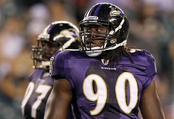 PHILADELPHIA, PA - AUGUST 11:  Pernell McPhee #90 of the Baltimore Ravens in action against the Philadelphia Eagles during their pre season game on August 11, 2011 at Lincoln Financial Field in Philadelphia, Pennsylvania.  (Photo by Jim McIsaac/Getty Images)