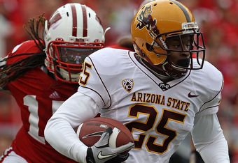 MADISON, WI - SEPTEMBER 18: Deantre Lewis #25  of the Arizona State Sun Devils runs against the Wisconsin Badgers at Camp Randall Stadium on September 18, 2010 in Madison, Wisconsin. Wisconsin defeated Arizona State 20-19. (Photo by Jonathan Daniel/Getty Images)