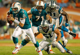 MIAMI GARDENS, FL - AUGUST 19:  Chad Henne #7 of the Miami Dolphins rushes during a preseason NFL game against the Carolina Panthers  at Sun Life Stadium on August 19, 2011 in Miami Gardens, Florida.  (Photo by Mike Ehrmann/Getty Images)