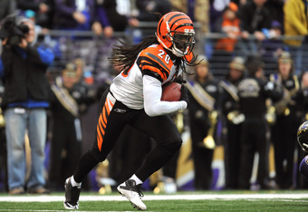 BALTIMORE, MD - JANUARY 2:  Reggie Nelson #20 of the Cincinnati Bengals returns an endzone interception against the Baltimore Ravens at M&T Bank Stadium on January 2, 2011 in Baltimore, Maryland. The Ravens defeated the Bengals 13-6. (Photo by Larry French/Getty Images)