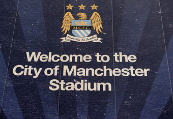 MANCHESTER, ENGLAND - FEBRUARY 27:  A General View of signage outside The City of Manchester Stadium, home of Manchester City FC on February 27, 2011 in Manchester, England.  (Photo by Jamie McDonald/Getty Images)