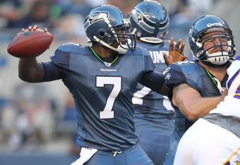 SEATTLE - AUGUST 20:  Quarterback Tarvaris Jackson #7 of the Seattle Seahawks passes against the Minnesota Vikings at CenturyLink Field on August 20, 2011 in Seattle, Washington. The Vikings won 20-7. (Photo by Otto Greule Jr/Getty Images)