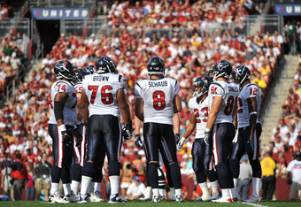 LANDOVER - SEPTEMBER 19:  Matt Schaub #8 of the Houston Texans leads the huddle during the game against the Washington Redskins at FedExField on September 19, 2010 in Landover, Maryland. The Texans defeated the Redskins in overtime 30-27. (Photo by Larry French/Getty Images)