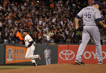 Carlos Beltran can finally take a trip around the bases at AT&T Park following his homer Wednesday night.