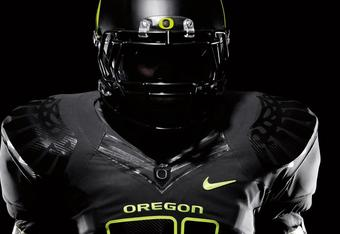 Oregon's Pro Combat uniform is tame by Oregon standards. Photo credit: Nike