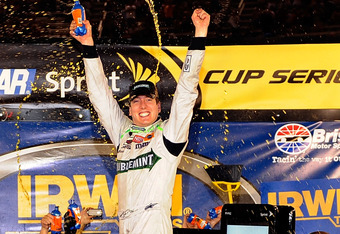 BRISTOL, TN - AUGUST 21:  Kyle Busch, driver of the #18 Doublemint Toyota, celebrates in Victory Lane after winning the NASCAR Sprint Cup Series IRWIN Tools Night Race at Bristol Motor Speedway on August 21, 2010 in Bristol, Tennessee.  (Photo by John Harrelson/Getty Images for NASCAR)