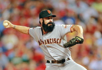 PHILADELPHIA , PA - JULY 27:  Brian Wilson #38 of the San Francisco Giants comes in the ninth inning to close the door against the Philadelphia Phillies at Citizens Bank Park on July 27, 2011 in Philadelphia, Pennsylvania. The Giants defeated the Phillies 2-1. (Photo by Len Redkoles/Getty Images)