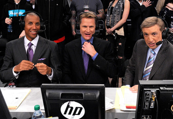 LOS ANGELES, CA - FEBRUARY 20:  Reggie Miller, Steve Kerr and Marv Albert of TNT in the 2011 NBA All-Star Game at Staples Center on February 20, 2011 in Los Angeles, California. NOTE TO USER: User expressly acknowledges and agrees that, by downloading and or using this photograph, User is consenting to the terms and conditions of the Getty Images License Agreement.  (Photo by Kevork Djansezian/Getty Images)
