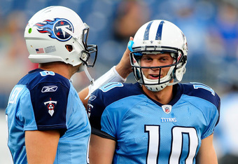 NASHVILLE, TN - AUGUST 13:  Matt Hasslbeck #8 of the Tennessee Titans offers encouragement to teammate Jake Locker #10 before a preseason game against the Minnesota Vikings at LP Field on August 13, 2011 in Nashville, Tennessee.  (Photo by Grant Halverson/Getty Images)