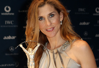 Monica Seles arrives at the Laureus World Sports Awards 2010 at Emirates Palace Hotel on March 10, 2010 in Abu Dhabi.