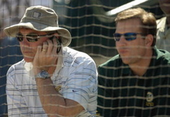 Billy Beane with Assistant GM David Forst (Getty Images)