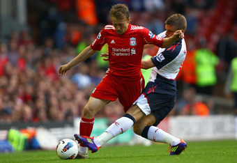 Lucas Leiva was excellent in midfield for Liverpool today. (Photo by Clive Brunskill/Getty Images)