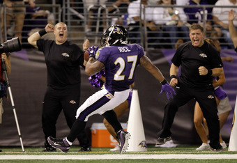 BALTIMORE, MD - AUGUST 19:  Running back Ray Rice #27 of the Baltimore Ravens celebrates after scoring a touchdown against the Kansas City Chiefs during the first half of a preseason game at M&T Bank Stadium on August 19, 2011 in Baltimore, Maryland. The Ravens won 31-13. (Photo by Rob Carr/Getty Images)
