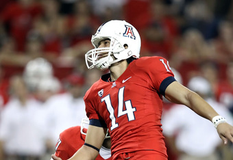 TUCSON, AZ - SEPTEMBER 25:  Kicker Alex Zendejas #14 of the Arizona Wildcats attempts a field goal during the college football game against the California Golden Bears at Arizona Stadium on September 25, 2010 in Tucson, Arizona.   The Wildcats defeated the Golden Bears 10-9.  (Photo by Christian Petersen/Getty Images)
