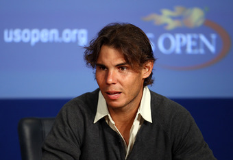 Rafael Nadal of Spain talks to the media during previews at USTA Billie Jean King National Tennis Center on August 27, 2011 in New York City.