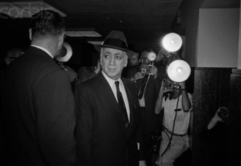 Frankie Carbo (centre) enters the courtroom