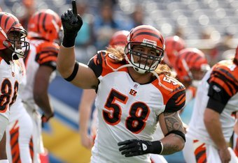 SAN DIEGO - DECEMBER 20:  Linebacker Rey Maualuga #58 of the Cincinnati Bengals on the field in warmups against the San Diego Chargers on December 20, 2009 at Qualcomm Stadium in San Diego, California.  The Chargers won 27-24.  (Photo by Stephen Dunn/Getty Images)