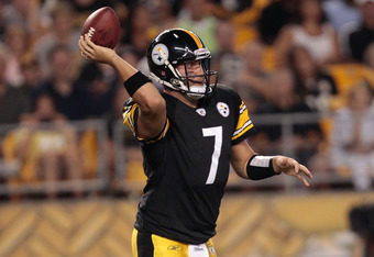 PITTSBURGH - AUGUST 18:  Ben Roethlisberger #7 of the Pittsburgh Steelers throws a pass against the Philadelphia Eagles during the preseason game on August 18, 2011 at Heinz Field in Pittsburgh, Pennsylvania.  (Photo by Jared Wickerham/Getty Images)