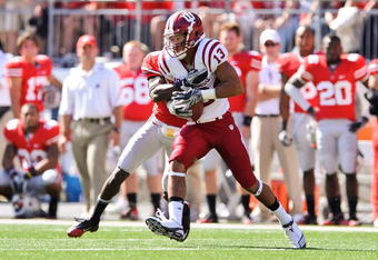 COLUMBUS, OH - OCTOBER 9:  Kofi Hughes #13 of the Indiana Hoosiers runs with the ball after making a catch against the Ohio State Buckeyes at Ohio Stadium on October 9, 2010 in Columbus, Ohio.  (Photo by Jamie Sabau/Getty Images)