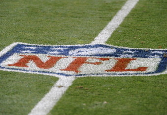 DENVER, CO - AUGUST 27:  A general view of an NFL logo on the field prior to the preseason game between the Seattle Seahawks and the Denver Broncos at Sports Authority Field at Mile High on August 27, 2011 in Denver, Colorado.  (Photo by Garrett W. Ellwoo
