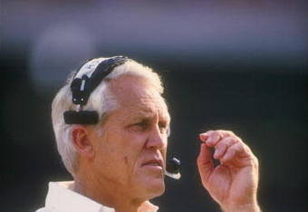 1987:  San Francisco 49ers head coach Bill Walsh looks on during a game. Mandatory Credit: Rick Stewart  /Allsport