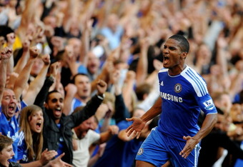 LONDON, ENGLAND - AUGUST 20:  Florent Malouda of Chelsea celebrates after scoring his team's second goal during the Barclays Premier League match between Chelsea and West Bromwich Albion at Stamford Bridge on August 20, 2011 in London, England.  (Photo by