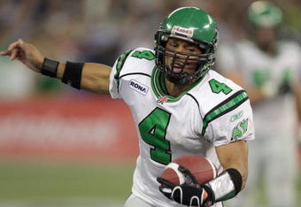 TORONTO - NOVEMBER 25:  Kerry Joseph #4 of the Saskatchewan Rough Riders scrambles for yardage against the Winnipeg Blue Bombers during the third quarter of the 95th Grey Cup on November 25, 2007 at the Rogers Centre in Toronto, Ontario, Canada.  (Photo b