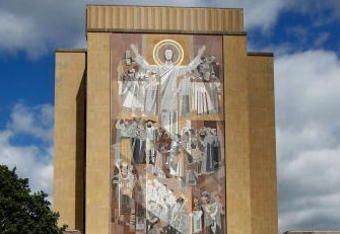 SOUTH BEND, IN - SEPTEMBER 04: The 'Way of Life' mural, also known as 'Touchdown Jesus,'  is seen on the campus of Notre Dame University before a game between the Notre Dame Fighting Irish and the Purdue Boilermakers at Notre Dame Stadium on September 4,