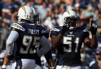 Shaun Phillips and Takeo Spikes will lead the Chargers' linebackers.